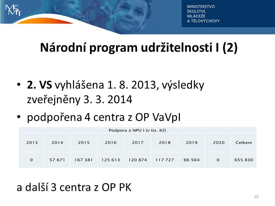 Národní program udržitelnosti I (2) 2.VS vyhlášena 1.
