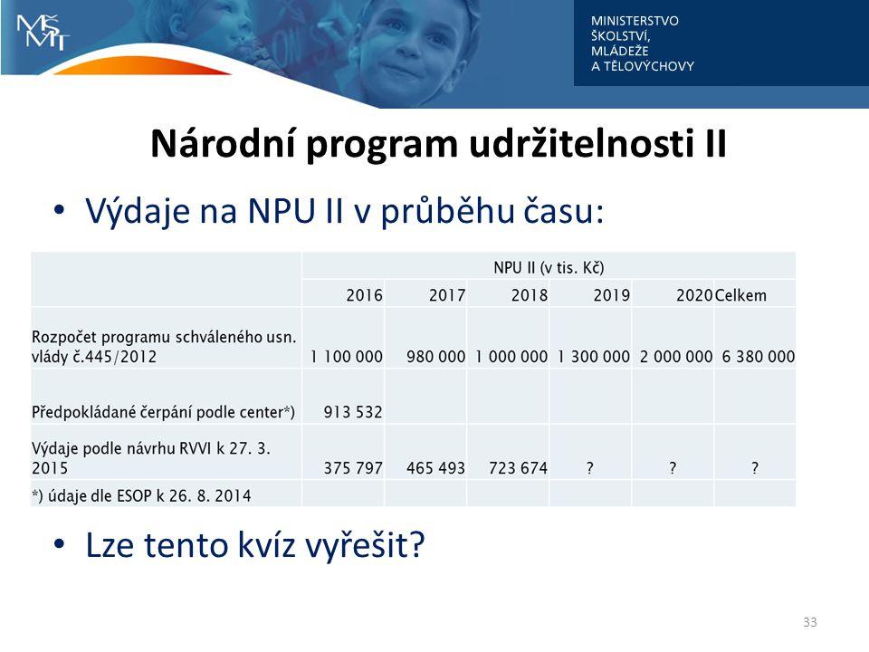 Národní program udržitelnosti II Výdaje na NPU II v průběhu času: Lze tento kvíz vyřešit? 33