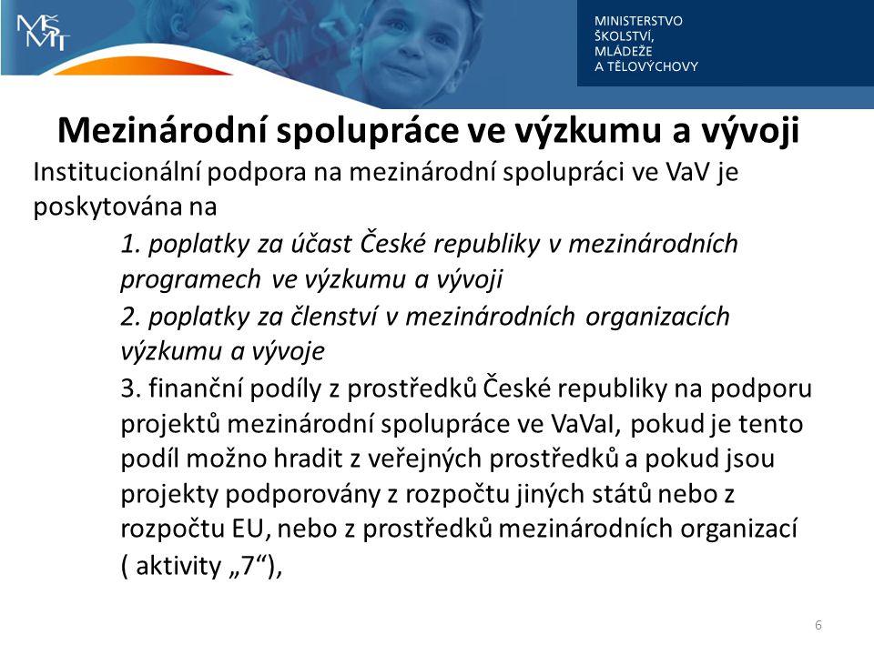 Mezinárodní spolupráce ve výzkumu a vývoji Institucionální podpora na mezinárodní spolupráci ve VaV je poskytována na 1.