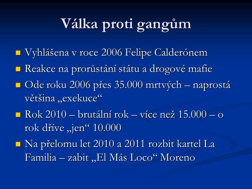 Válka proti gangům Vyhlášena v roce 2006 Felipe Calderónem Vyhlášena v roce 2006 Felipe Calderónem Reakce na prorůstání státu a drogové mafie Reakce n