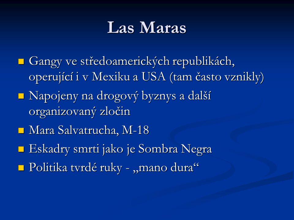 Las Maras Gangy ve středoamerických republikách, operující i v Mexiku a USA (tam často vznikly) Gangy ve středoamerických republikách, operující i v M