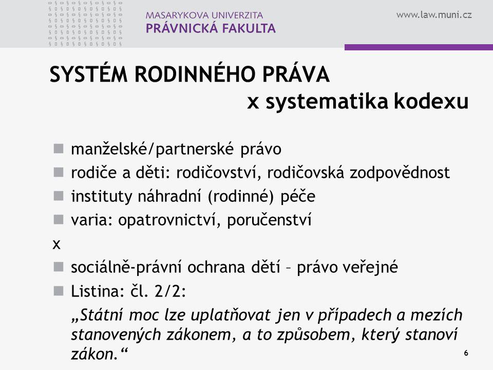 www.law.muni.cz 6 SYSTÉM RODINNÉHO PRÁVA x systematika kodexu manželské/partnerské právo rodiče a děti: rodičovství, rodičovská zodpovědnost instituty