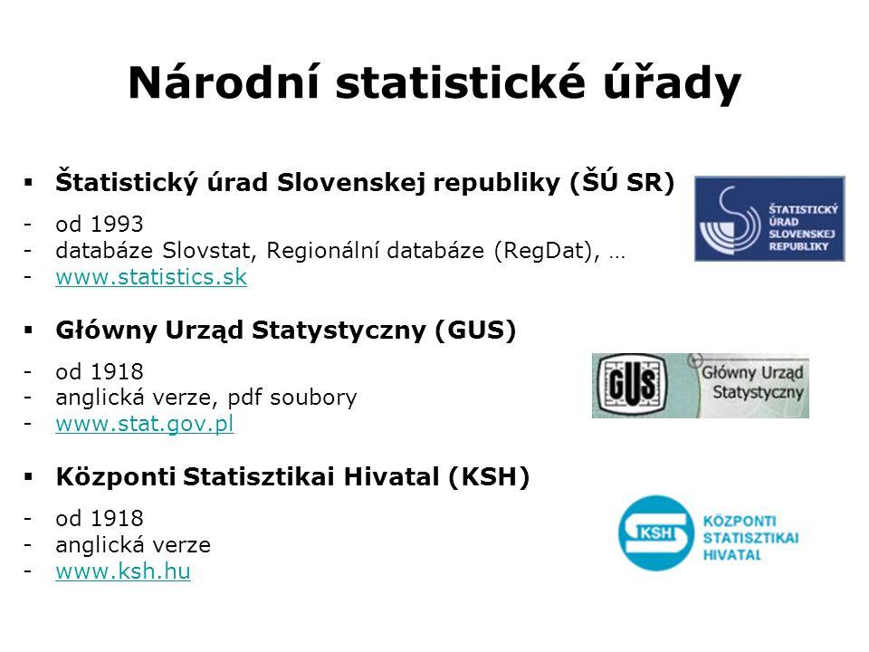 Národní statistické úřady  Štatistický úrad Slovenskej republiky (ŠÚ SR) -od 1993 -databáze Slovstat, Regionální databáze (RegDat), … -www.statistics