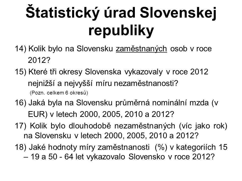 Štatistický úrad Slovenskej republiky 14) Kolik bylo na Slovensku zaměstnaných osob v roce 2012? 15) Které tři okresy Slovenska vykazovaly v roce 2012