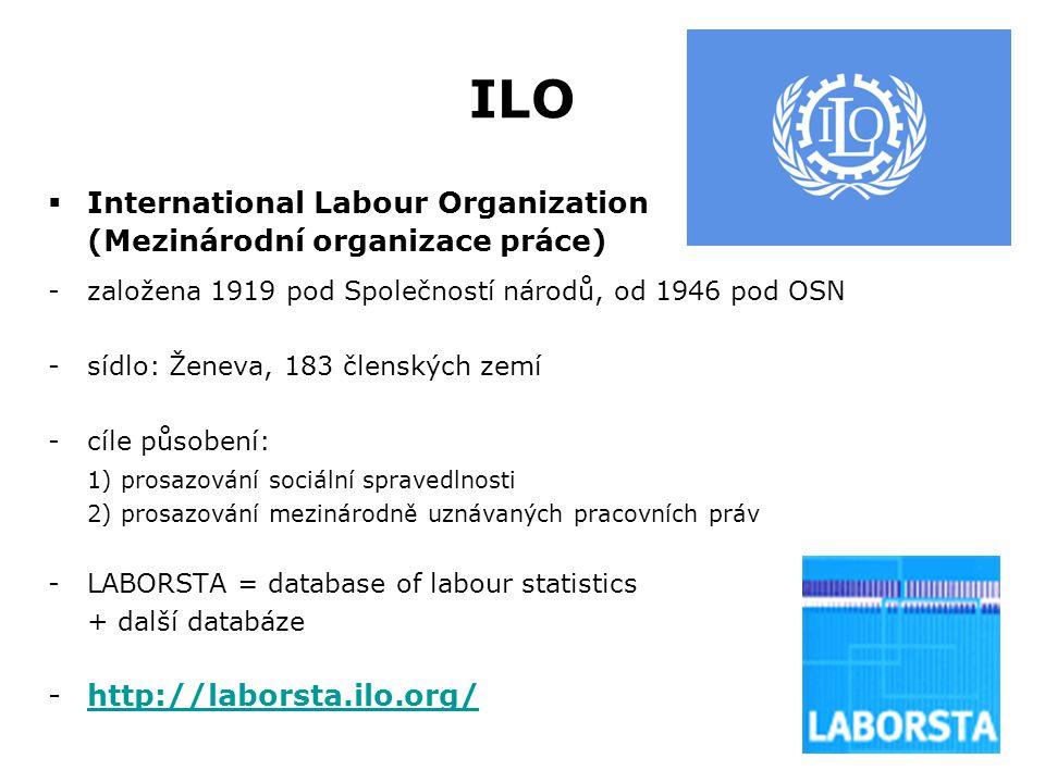 ILO  International Labour Organization (Mezinárodní organizace práce) -založena 1919 pod Společností národů, od 1946 pod OSN -sídlo: Ženeva, 183 člen