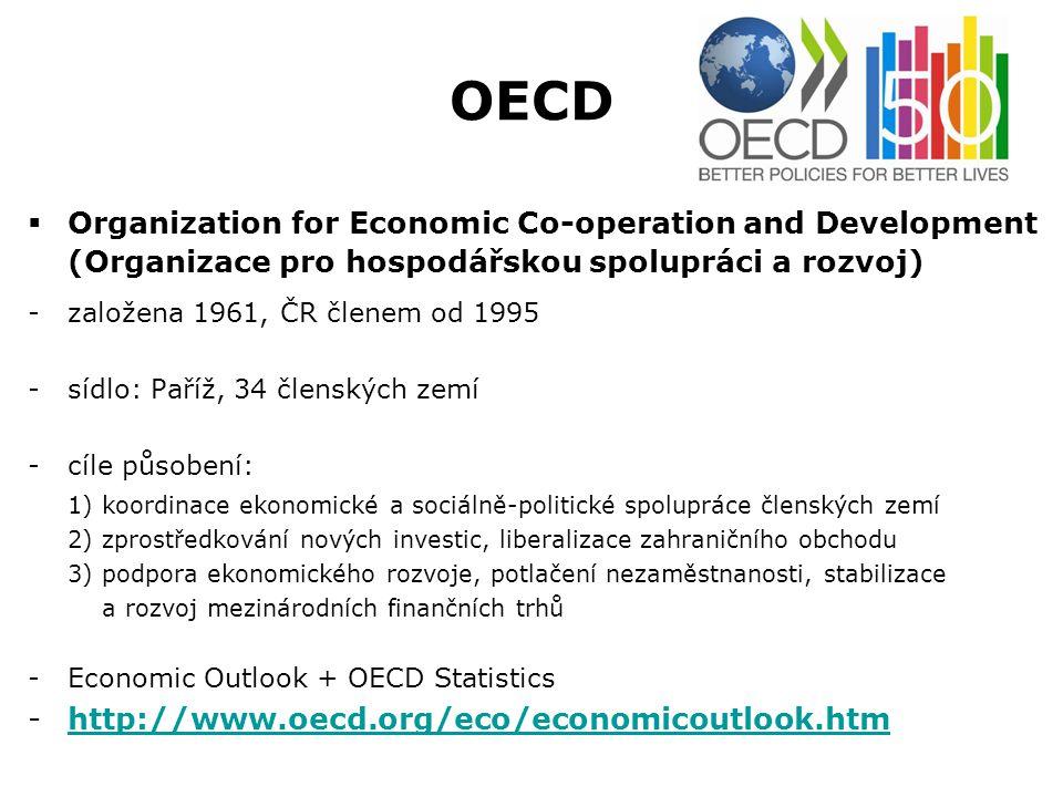 OECD  Organization for Economic Co-operation and Development (Organizace pro hospodářskou spolupráci a rozvoj) -založena 1961, ČR členem od 1995 -síd