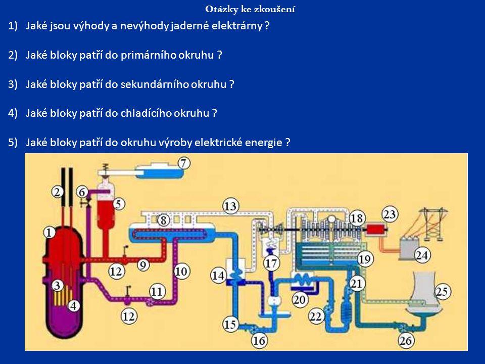 Otázky ke zkoušení 1)Jaké jsou výhody a nevýhody jaderné elektrárny ? 2)Jaké bloky patří do primárního okruhu ? 3)Jaké bloky patří do sekundárního okr
