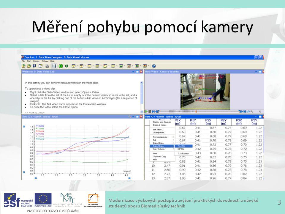 Modernizace výukových postupů a zvýšení praktických dovedností a návyků studentů oboru Biomedicínský technik Měření pohybu pomocí kamery 3
