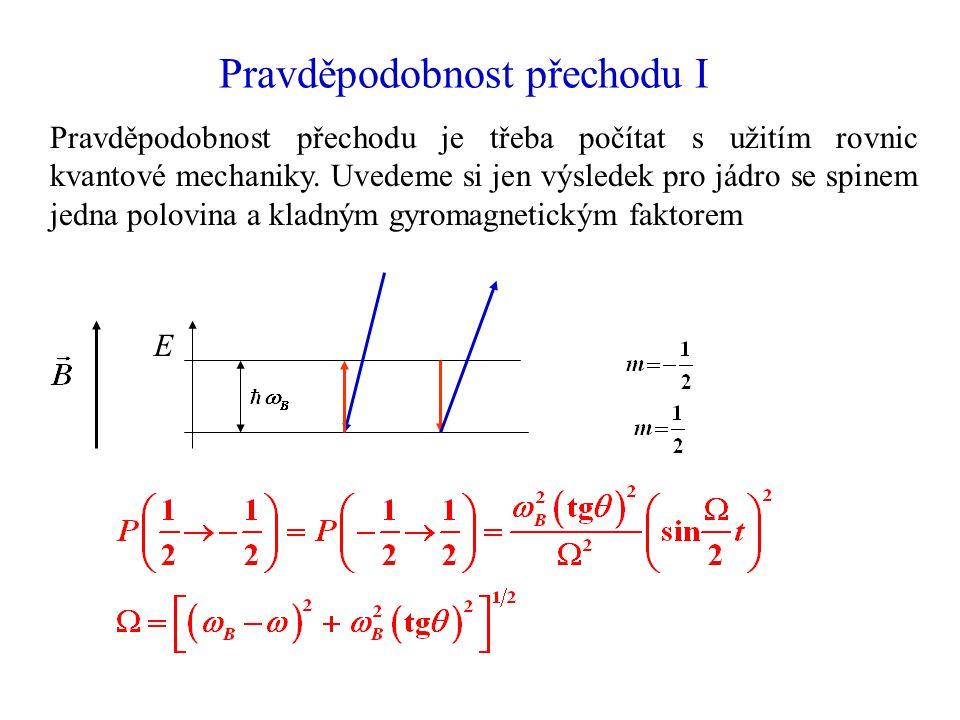 Pravděpodobnost přechodu I Pravděpodobnost přechodu je třeba počítat s užitím rovnic kvantové mechaniky. Uvedeme si jen výsledek pro jádro se spinem j