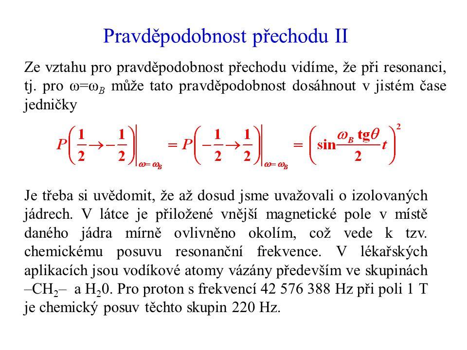 Pravděpodobnost přechodu II Ze vztahu pro pravděpodobnost přechodu vidíme, že při resonanci, tj. pro ω=ω B může tato pravděpodobnost dosáhnout v jisté