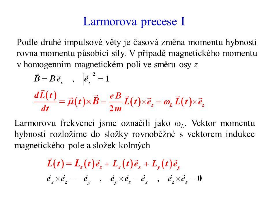 Larmorova precese I Podle druhé impulsové věty je časová změna momentu hybnosti rovna momentu působící síly. V případě magnetického momentu v homogenn
