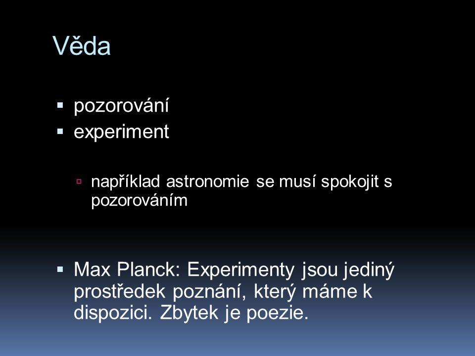 Věda  pozorování  experiment  například astronomie se musí spokojit s pozorováním  Max Planck: Experimenty jsou jediný prostředek poznání, který m