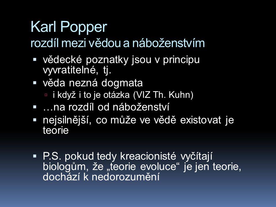 Karl Popper rozdíl mezi vědou a náboženstvím  vědecké poznatky jsou v principu vyvratitelné, tj.  věda nezná dogmata  i když i to je otázka (VIZ Th