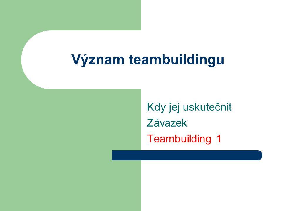 Význam teambuildingu Kdy jej uskutečnit Závazek Teambuilding 1