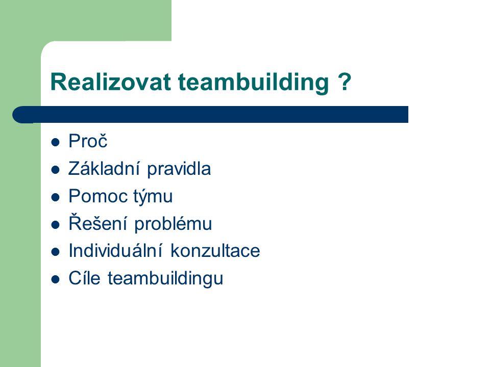 Realizovat teambuilding .
