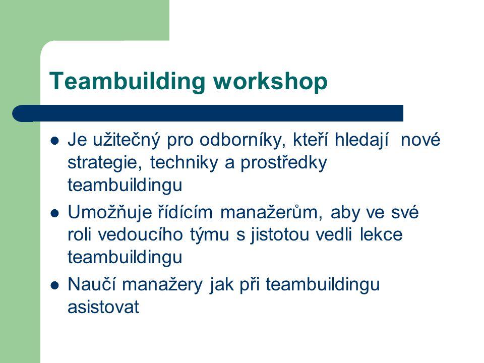 Teambuilding workshop Je užitečný pro odborníky, kteří hledají nové strategie, techniky a prostředky teambuildingu Umožňuje řídícím manažerům, aby ve své roli vedoucího týmu s jistotou vedli lekce teambuildingu Naučí manažery jak při teambuildingu asistovat