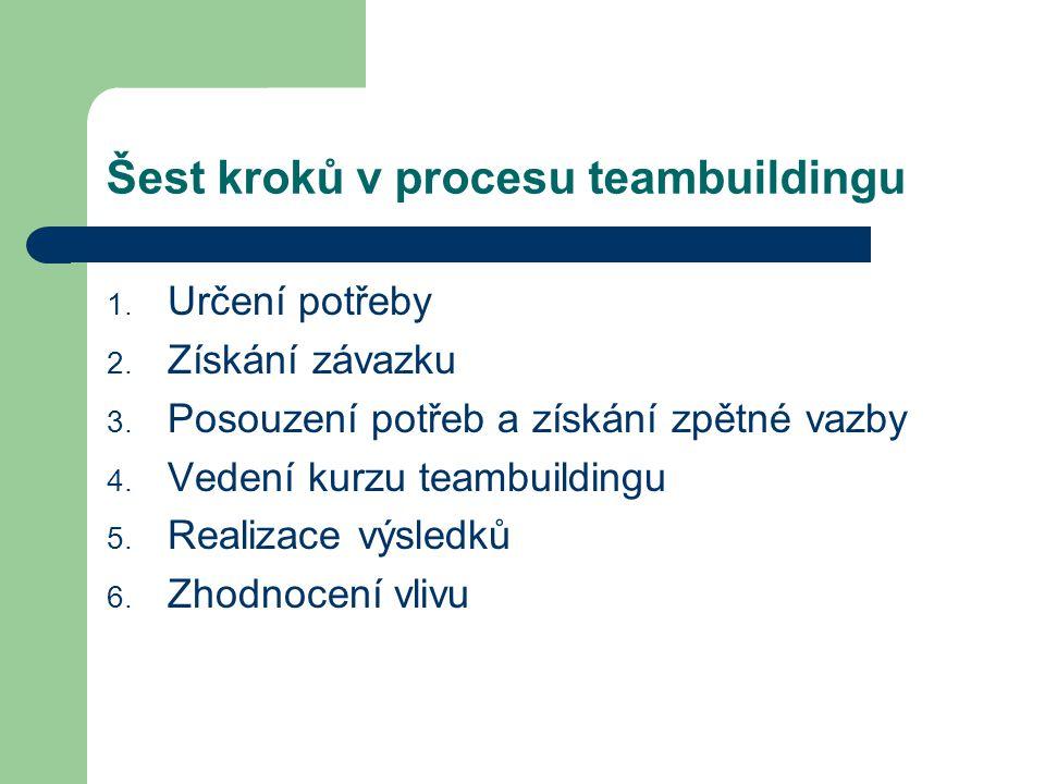 Šest kroků v procesu teambuildingu 1.Určení potřeby 2.