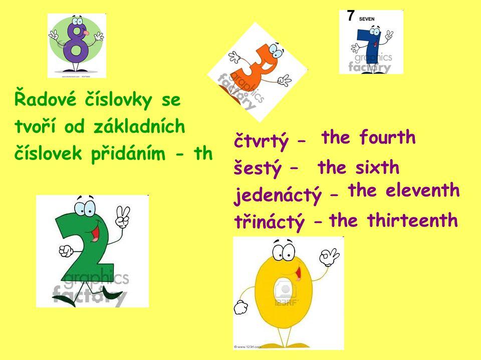 Pozor na změny u těchto číslovek five the fifth twelvethe twelfth eightthe eighth ninethe ninth twentythe twentieth thirtythe thirtieth