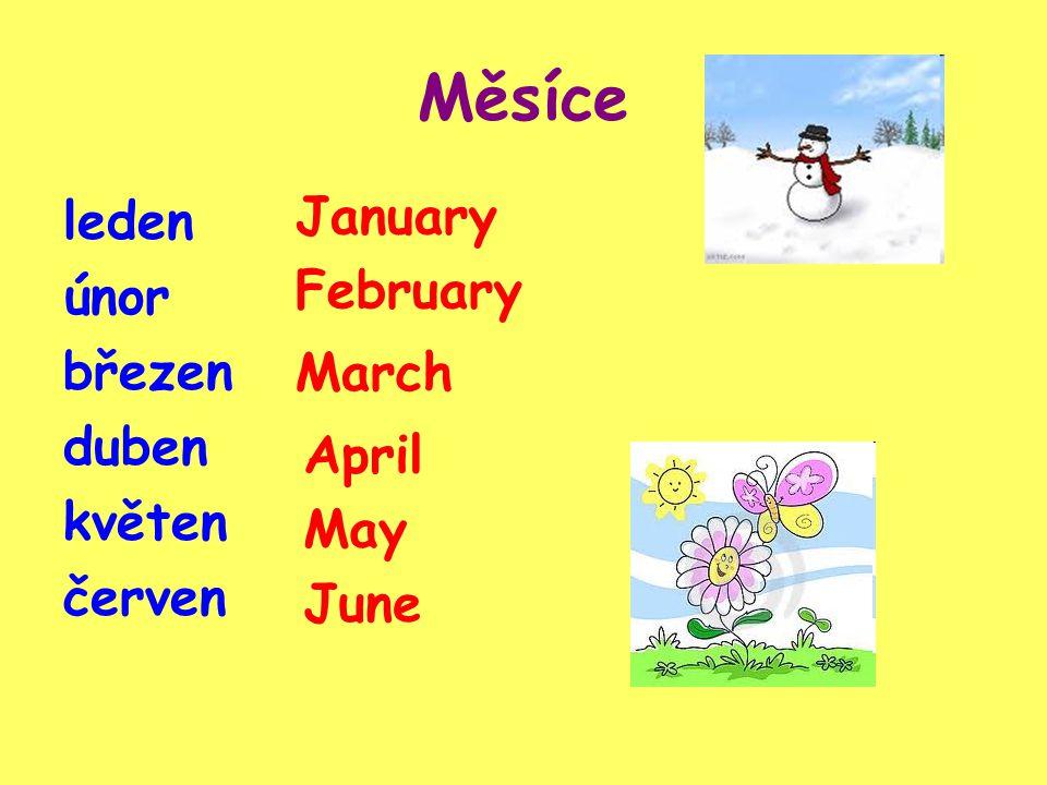 Měsíce leden únor březen duben květen červen January February March April May June