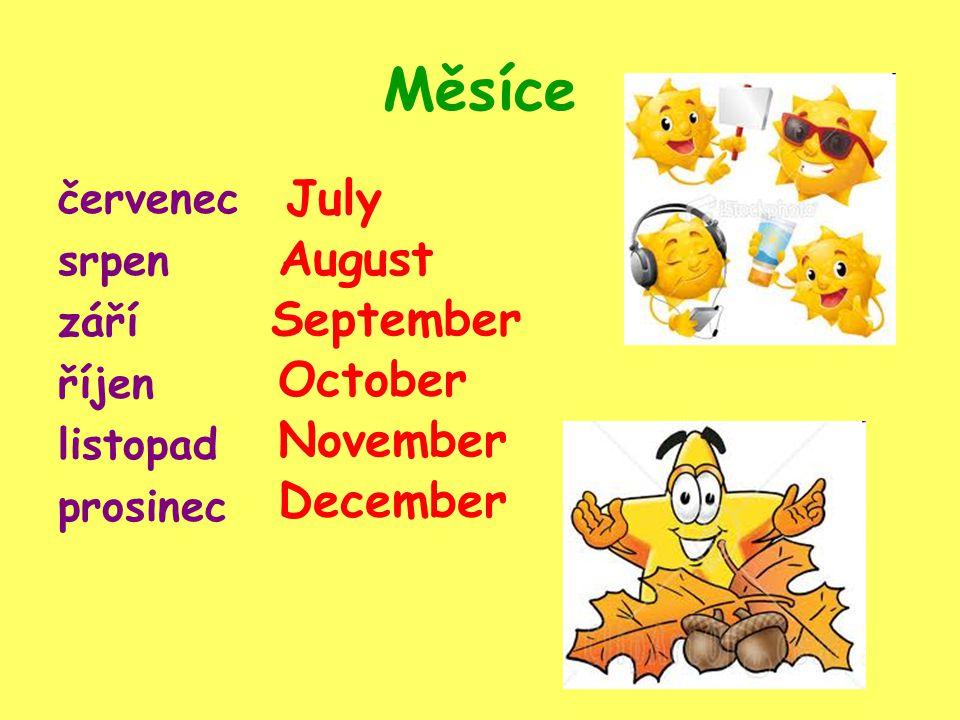 Měsíce červenec srpen září říjen listopad prosinec July November October September December August