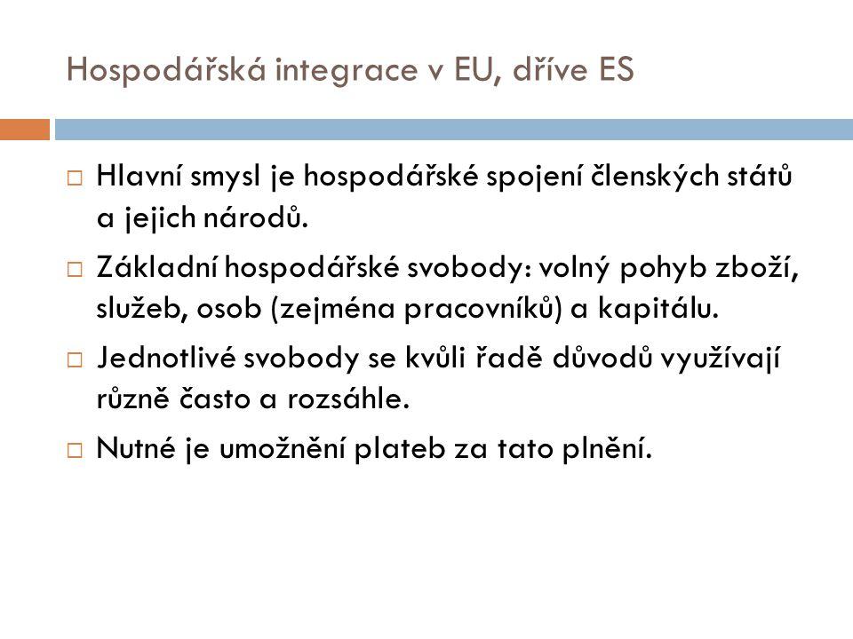 Hospodářská integrace v EU, dříve ES  Hlavní smysl je hospodářské spojení členských států a jejich národů.  Základní hospodářské svobody: volný pohy