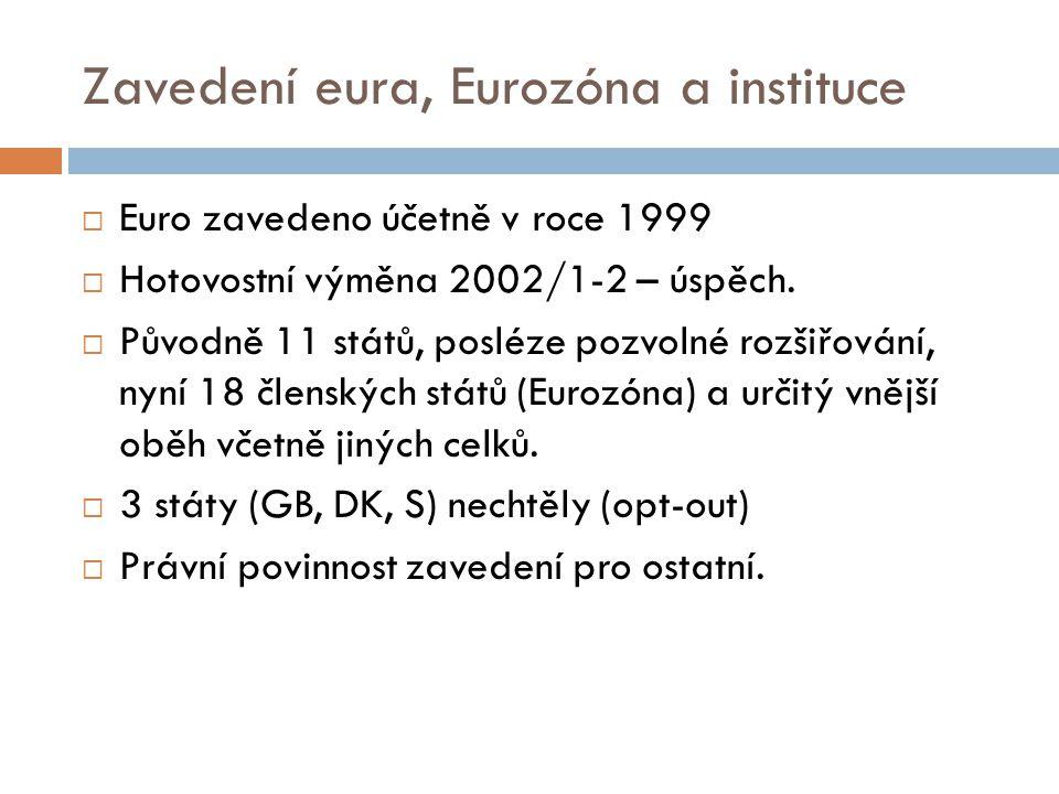 Zavedení eura, Eurozóna a instituce  Euro zavedeno účetně v roce 1999  Hotovostní výměna 2002/1-2 – úspěch.  Původně 11 států, posléze pozvolné roz