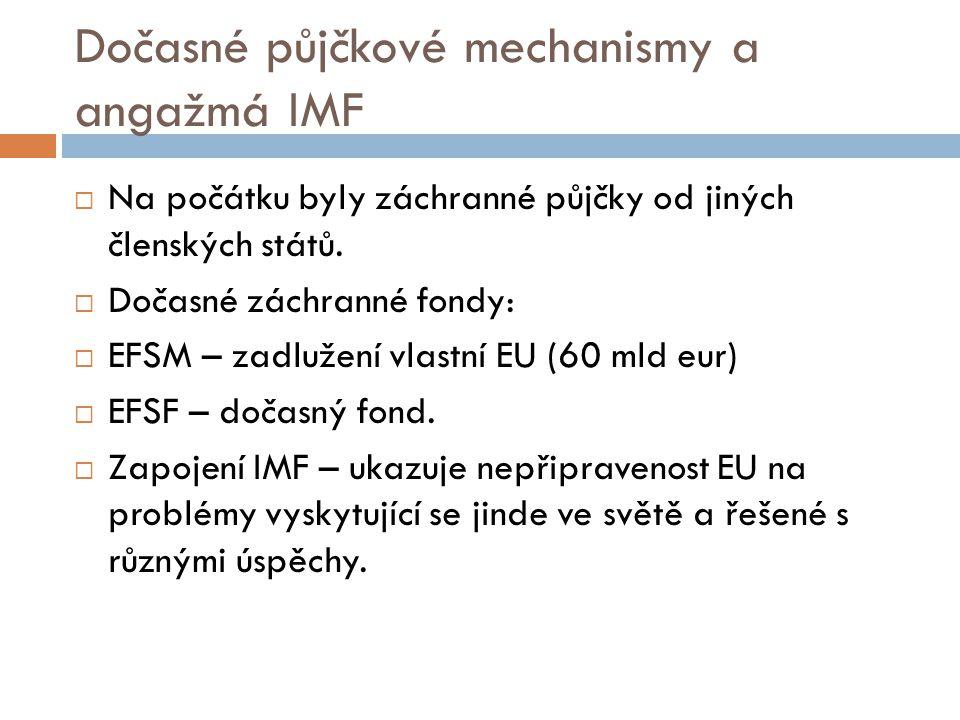 Dočasné půjčkové mechanismy a angažmá IMF  Na počátku byly záchranné půjčky od jiných členských států.  Dočasné záchranné fondy:  EFSM – zadlužení