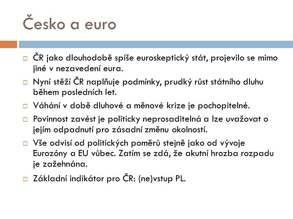 Česko a euro  ČR jako dlouhodobě spíše euroskeptický stát, projevilo se mimo jiné v nezavedení eura.  Nyní stěží ČR naplňuje podmínky, prudký růst s