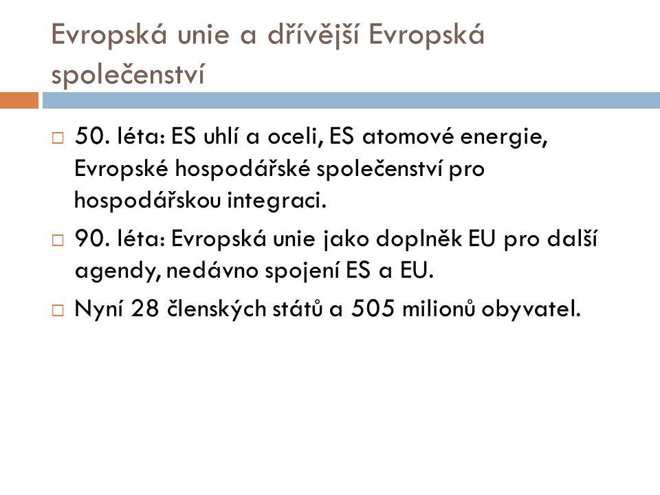 Evropská unie a dřívější Evropská společenství  50. léta: ES uhlí a oceli, ES atomové energie, Evropské hospodářské společenství pro hospodářskou int