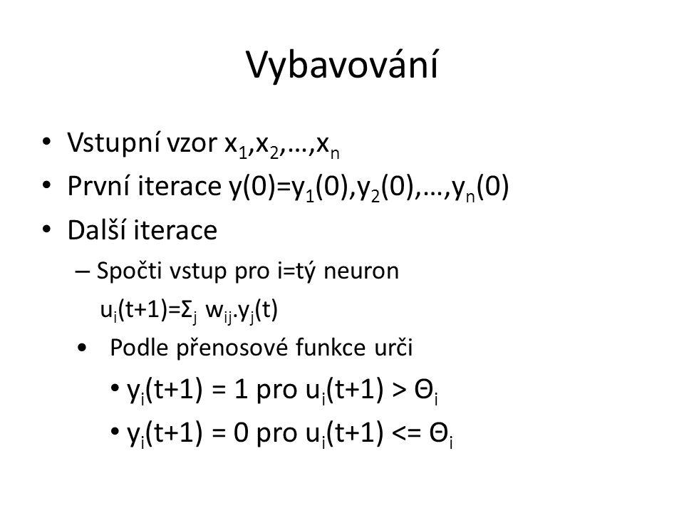 Vybavování Vstupní vzor x 1,x 2,…,x n První iterace y(0)=y 1 (0),y 2 (0),…,y n (0) Další iterace – Spočti vstup pro i=tý neuron u i (t+1)=Σ j w ij.y j