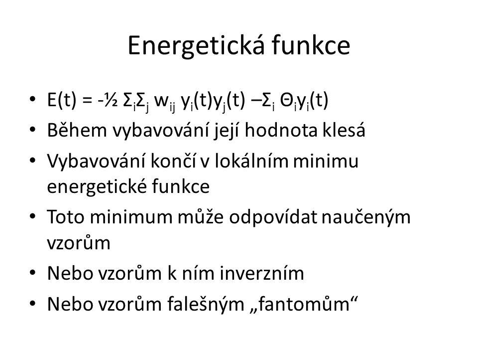 Energetická funkce E(t) = -½ Σ i Σ j w ij y i (t)y j (t) –Σ i Θ i y i (t) Během vybavování její hodnota klesá Vybavování končí v lokálním minimu energ
