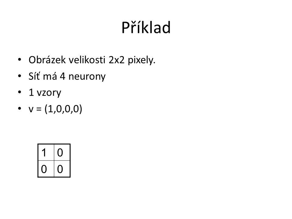 Příklad Obrázek velikosti 2x2 pixely. Síť má 4 neurony 1 vzory v = (1,0,0,0) 10 00