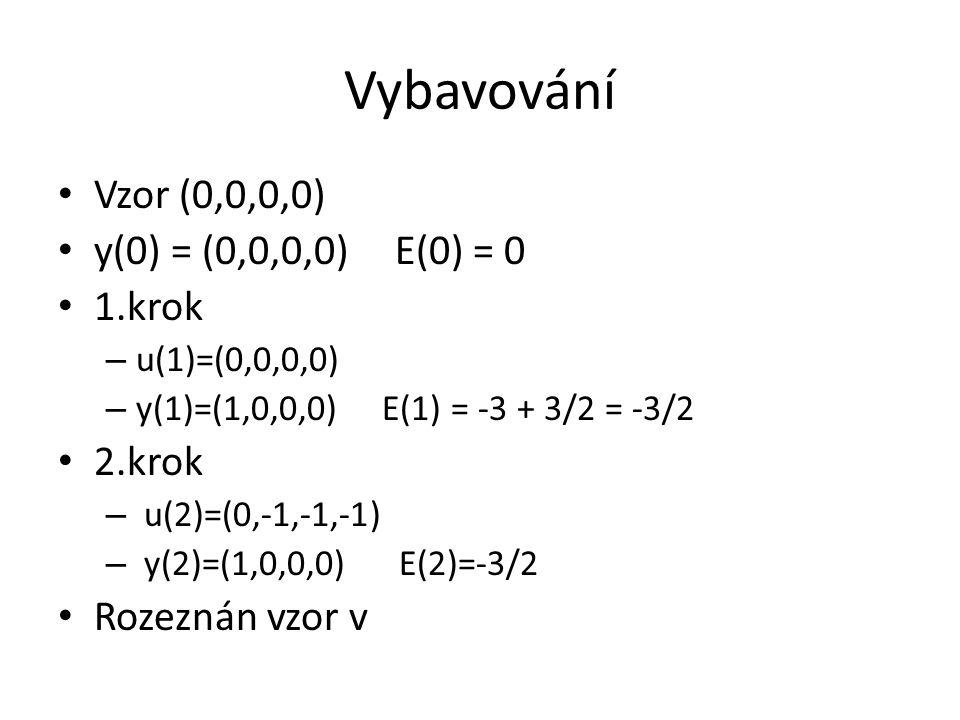 Vybavování Vzor (0,0,0,0) y(0) = (0,0,0,0) E(0) = 0 1.krok – u(1)=(0,0,0,0) – y(1)=(1,0,0,0) E(1) = -3 + 3/2 = -3/2 2.krok – u(2)=(0,-1,-1,-1) – y(2)=