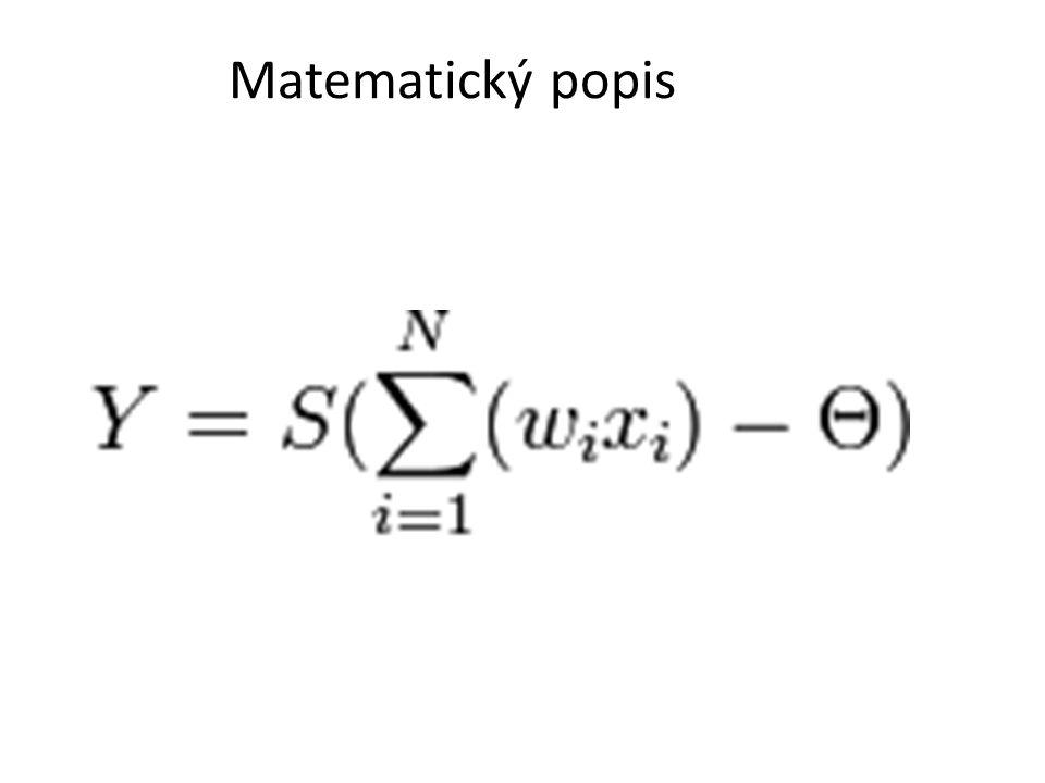 Učení sítě = nastavení vah t vzorů (n složkové vektory) w ij = 0 pro i=j Pro i<>j – inicializuj w ij =0 – Pro každý vzor v 1,v 2,…,v n proveď w ij = w ij + (2v i -1)(2v j -1)