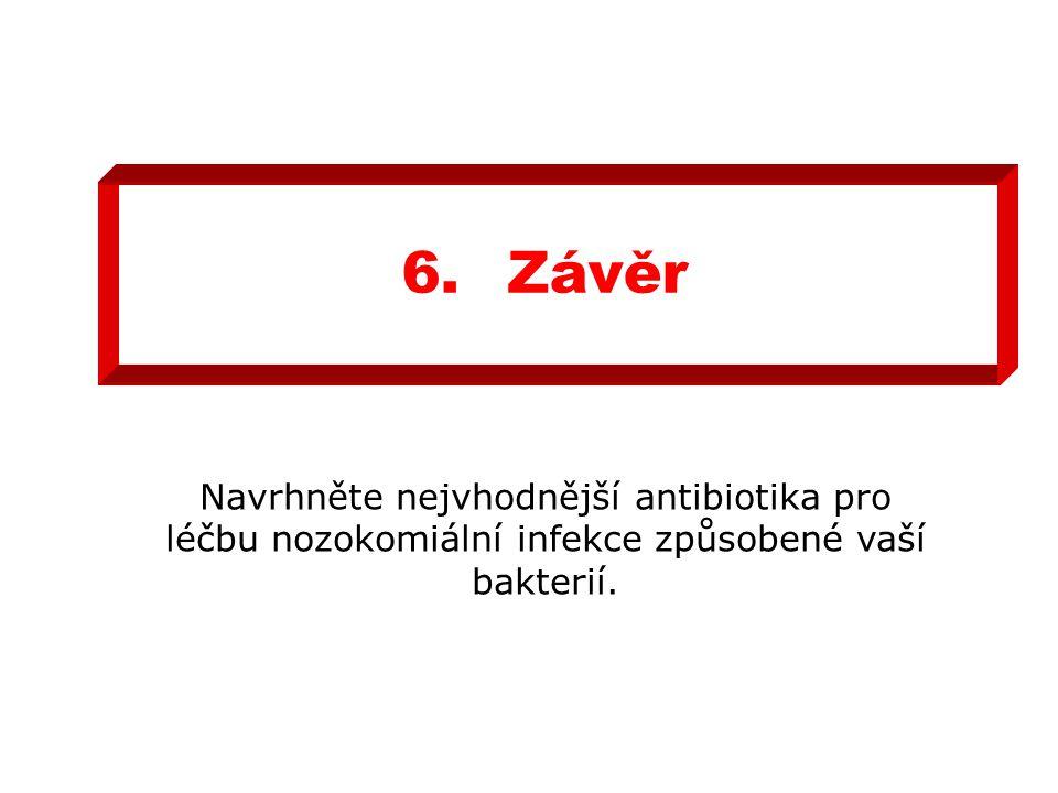 6.Závěr Navrhněte nejvhodnější antibiotika pro léčbu nozokomiální infekce způsobené vaší bakterií.