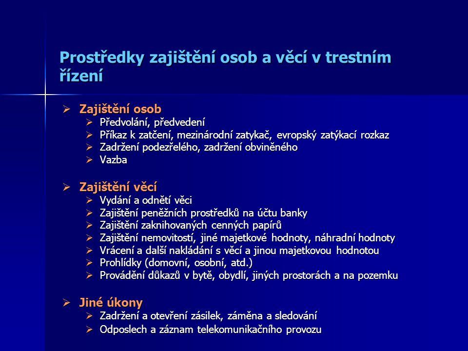 Prostředky zajištění osob a věcí v trestním řízení  Zajištění osob  Předvolání, předvedení  Příkaz k zatčení, mezinárodní zatykač, evropský zatýkac