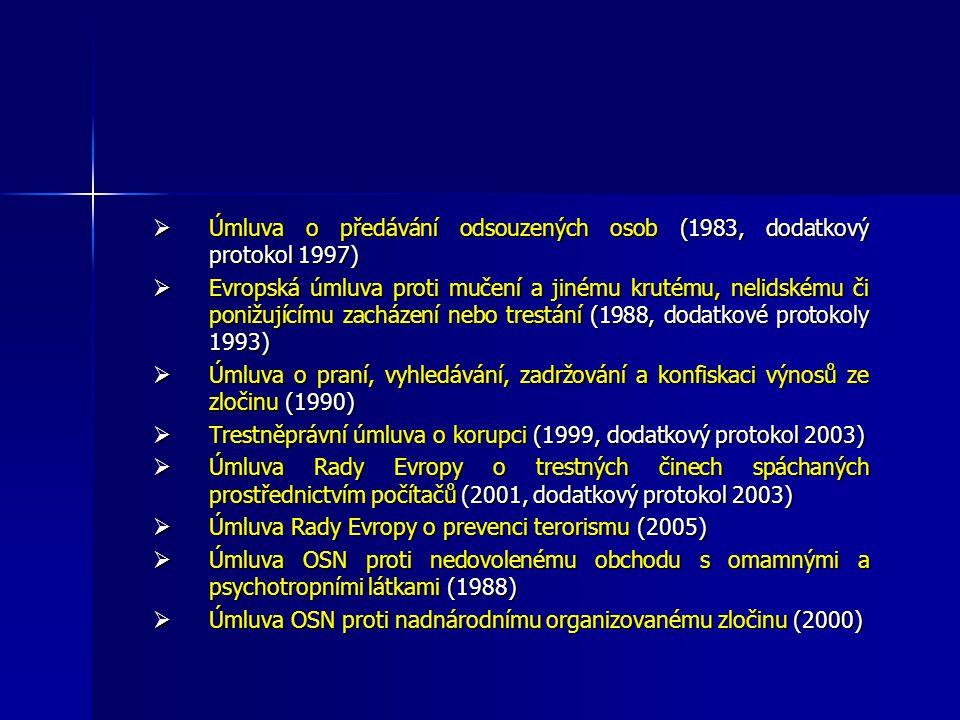  Úmluva o předávání odsouzených osob (1983, dodatkový protokol 1997)  Evropská úmluva proti mučení a jinému krutému, nelidskému či ponižujícímu zacházení nebo trestání (1988, dodatkové protokoly 1993)  Úmluva o praní, vyhledávání, zadržování a konfiskaci výnosů ze zločinu (1990)  Trestněprávní úmluva o korupci (1999, dodatkový protokol 2003)  Úmluva Rady Evropy o trestných činech spáchaných prostřednictvím počítačů (2001, dodatkový protokol 2003)  Úmluva Rady Evropy o prevenci terorismu (2005)  Úmluva OSN proti nedovolenému obchodu s omamnými a psychotropními látkami (1988)  Úmluva OSN proti nadnárodnímu organizovanému zločinu (2000)