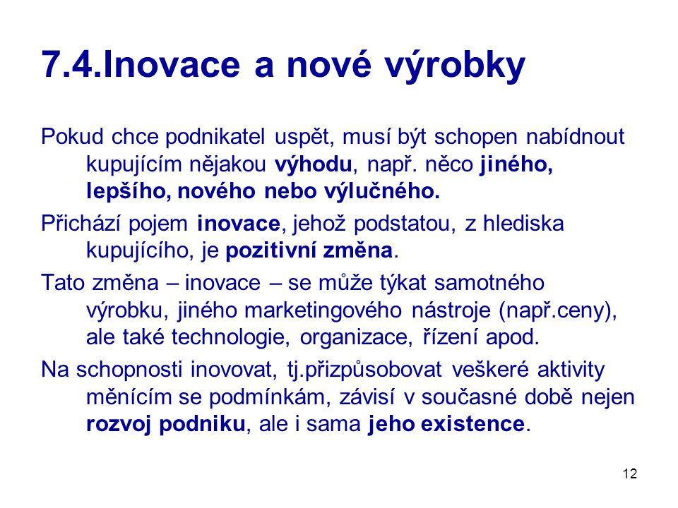12 7.4.Inovace a nové výrobky Pokud chce podnikatel uspět, musí být schopen nabídnout kupujícím nějakou výhodu, např. něco jiného, lepšího, nového neb