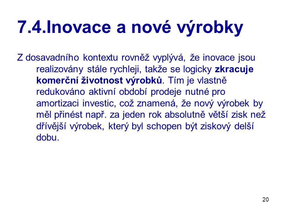 20 7.4.Inovace a nové výrobky Z dosavadního kontextu rovněž vyplývá, že inovace jsou realizovány stále rychleji, takže se logicky zkracuje komerční ži