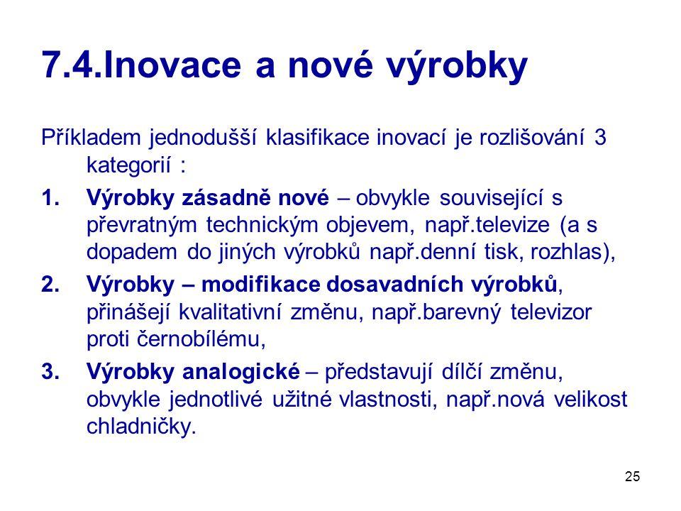 25 7.4.Inovace a nové výrobky Příkladem jednodušší klasifikace inovací je rozlišování 3 kategorií : 1.Výrobky zásadně nové – obvykle související s pře