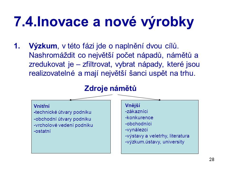 28 7.4.Inovace a nové výrobky 1.Výzkum, v této fázi jde o naplnění dvou cílů. Nashromáždit co největší počet nápadů, námětů a zredukovat je – zfiltrov