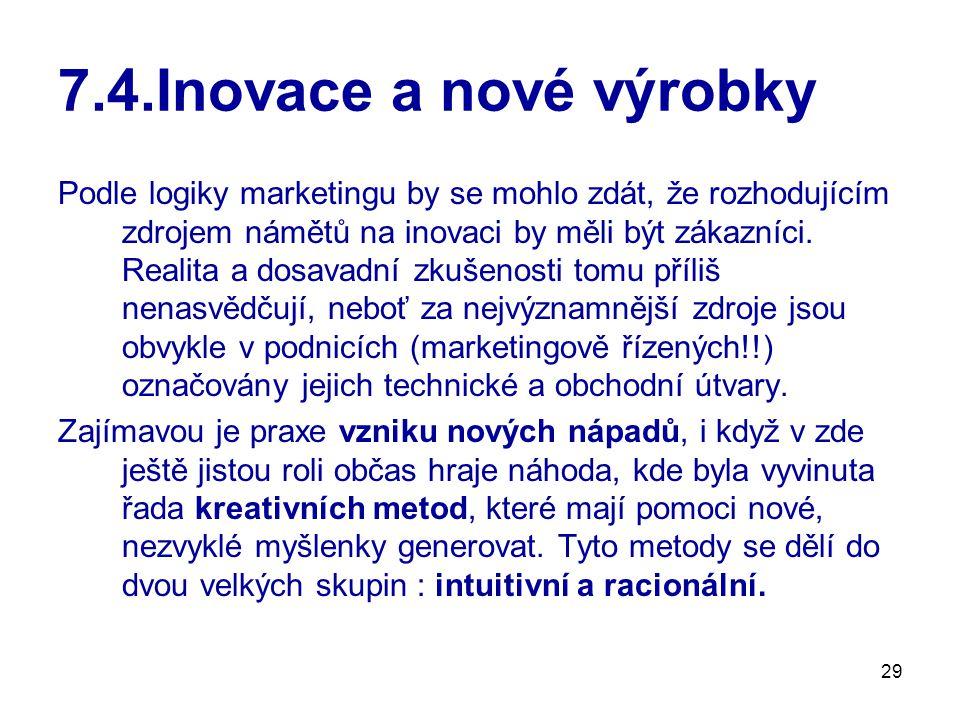 29 7.4.Inovace a nové výrobky Podle logiky marketingu by se mohlo zdát, že rozhodujícím zdrojem námětů na inovaci by měli být zákazníci. Realita a dos