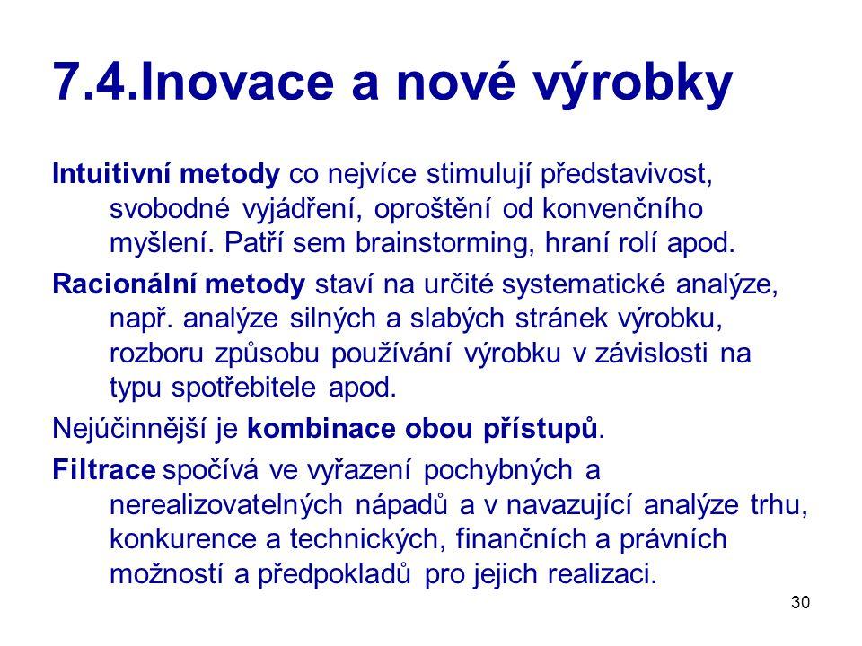 30 7.4.Inovace a nové výrobky Intuitivní metody co nejvíce stimulují představivost, svobodné vyjádření, oproštění od konvenčního myšlení. Patří sem br