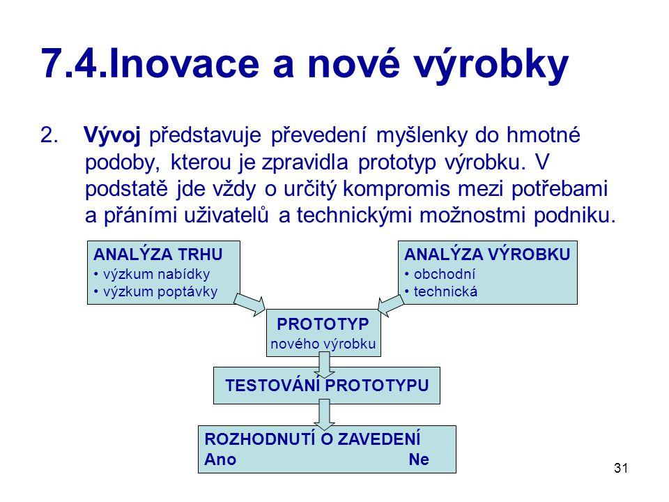 31 7.4.Inovace a nové výrobky 2. Vývoj představuje převedení myšlenky do hmotné podoby, kterou je zpravidla prototyp výrobku. V podstatě jde vždy o ur