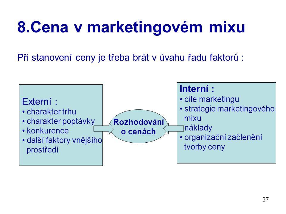 37 8.Cena v marketingovém mixu Při stanovení ceny je třeba brát v úvahu řadu faktorů : Externí : charakter trhu charakter poptávky konkurence další fa