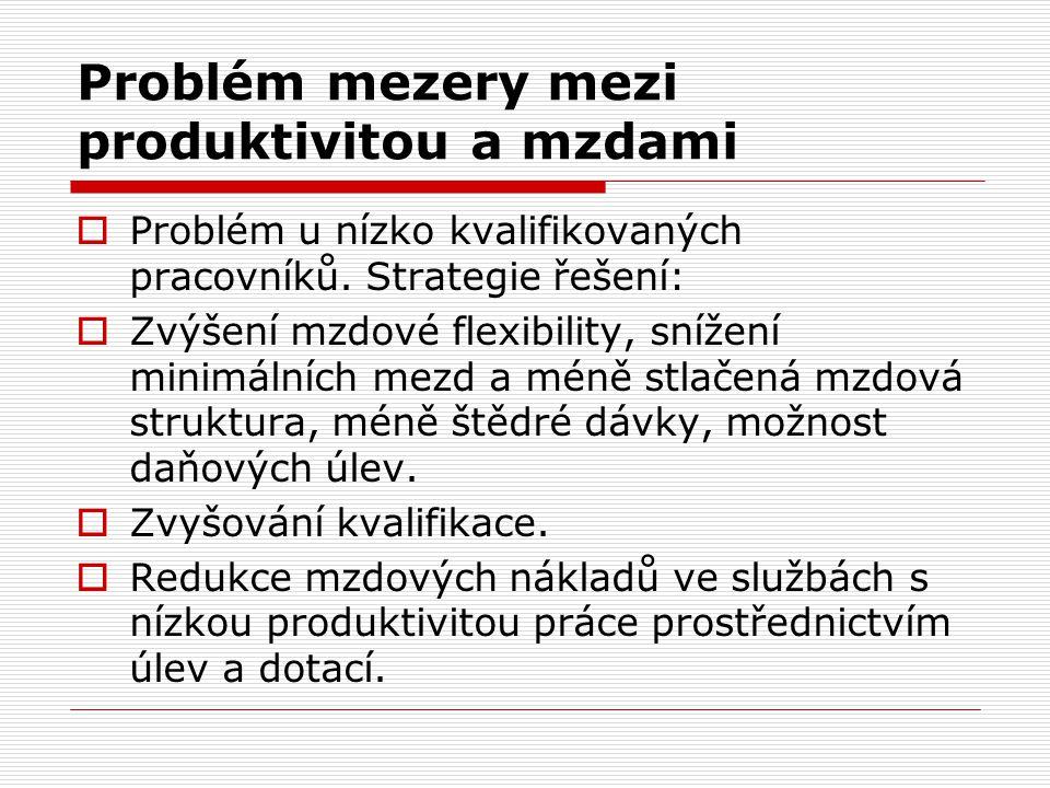 Problém mezery mezi produktivitou a mzdami  Problém u nízko kvalifikovaných pracovníků. Strategie řešení:  Zvýšení mzdové flexibility, snížení minim