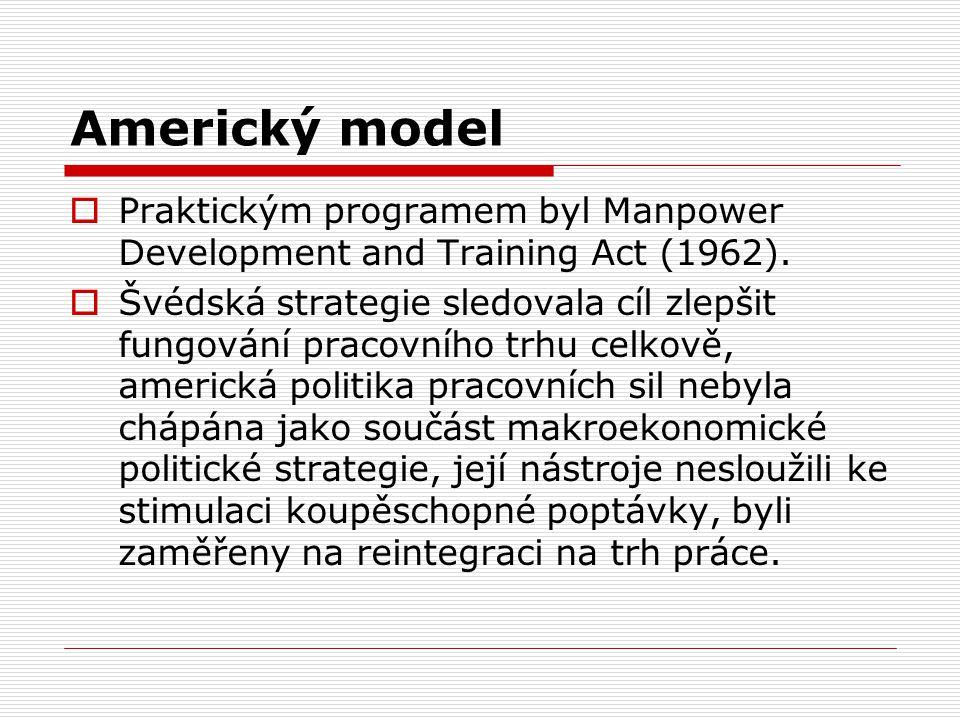 Americký model  Praktickým programem byl Manpower Development and Training Act (1962).  Švédská strategie sledovala cíl zlepšit fungování pracovního