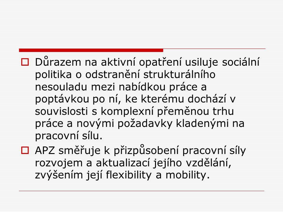  Důrazem na aktivní opatření usiluje sociální politika o odstranění strukturálního nesouladu mezi nabídkou práce a poptávkou po ní, ke kterému docház