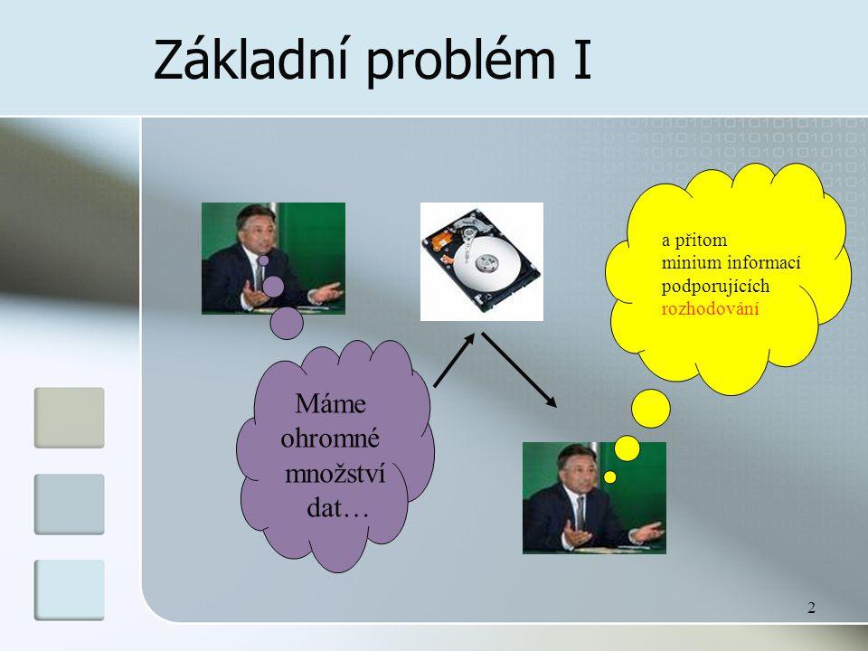 2 Základní problém I Máme ohromné množství dat… a přitom minium informací podporujících rozhodování
