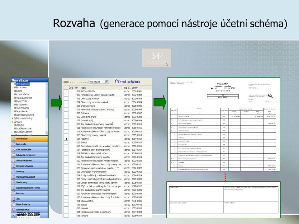 34 Rozvaha (generace pomocí nástroje účetní schéma) Účetní schéma